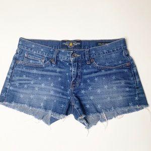 Lucky Brand Riley denim cut-off Shorts star print
